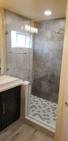 Bathroom remodeling with glass door