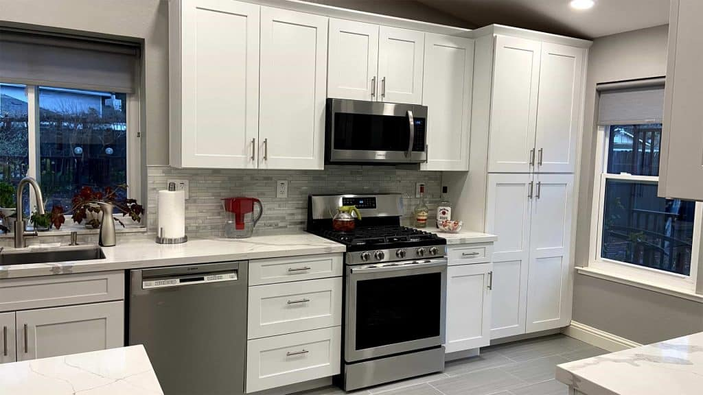 Modern Kitchen Remodeling with Countertop and White Cabinets